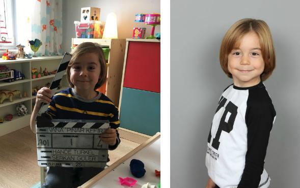 Çocuk oyuncumuz Aras Özdoyuran, İçecek Reklamı setinde.