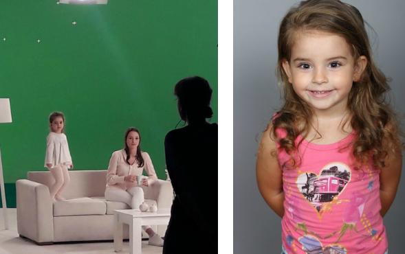 Çocuk oyuncumuz Esila Cansın Tekbaş, Krem Reklamı setinde.