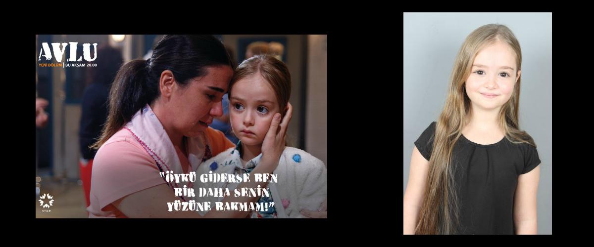 Çocuk oyuncumuz Mihrimah Cankur, Avlu Dizisinde Öykü karakterini canlandırmaktadır.